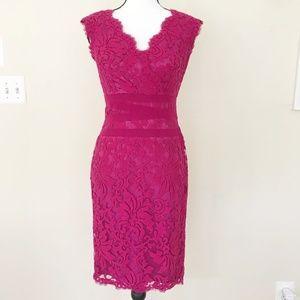 Tadashi Shoji Pink Lace Corded Midi Dress